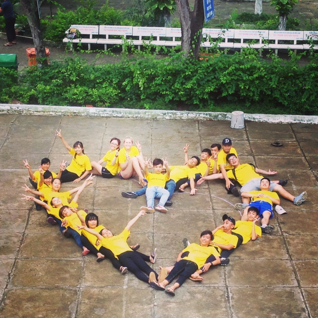 Yellow Team Forms Heart on Competition Day