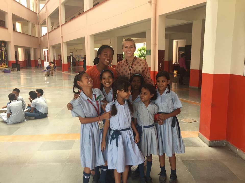 Jaida Lemmons with youth at VIDYA School