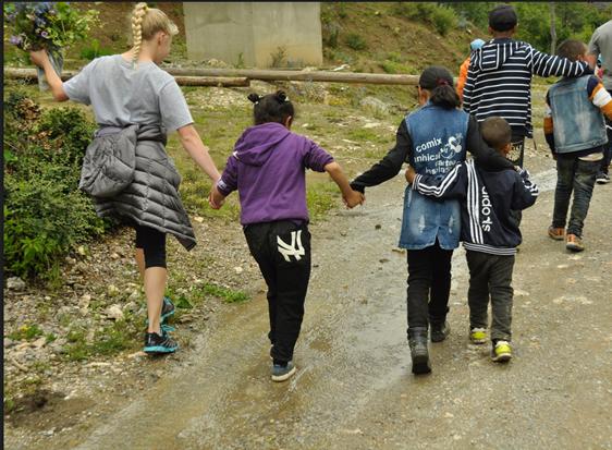 Hailee Walking with Kids