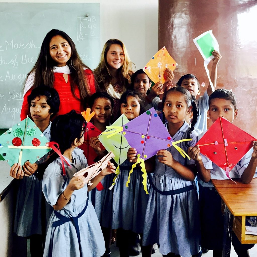 Student-Athletes Making Crafts with VIDYA Students