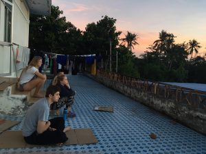 ACE in Vietnam Group Meditating Before Camp