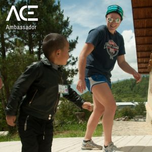 ACE participant playing outside with child