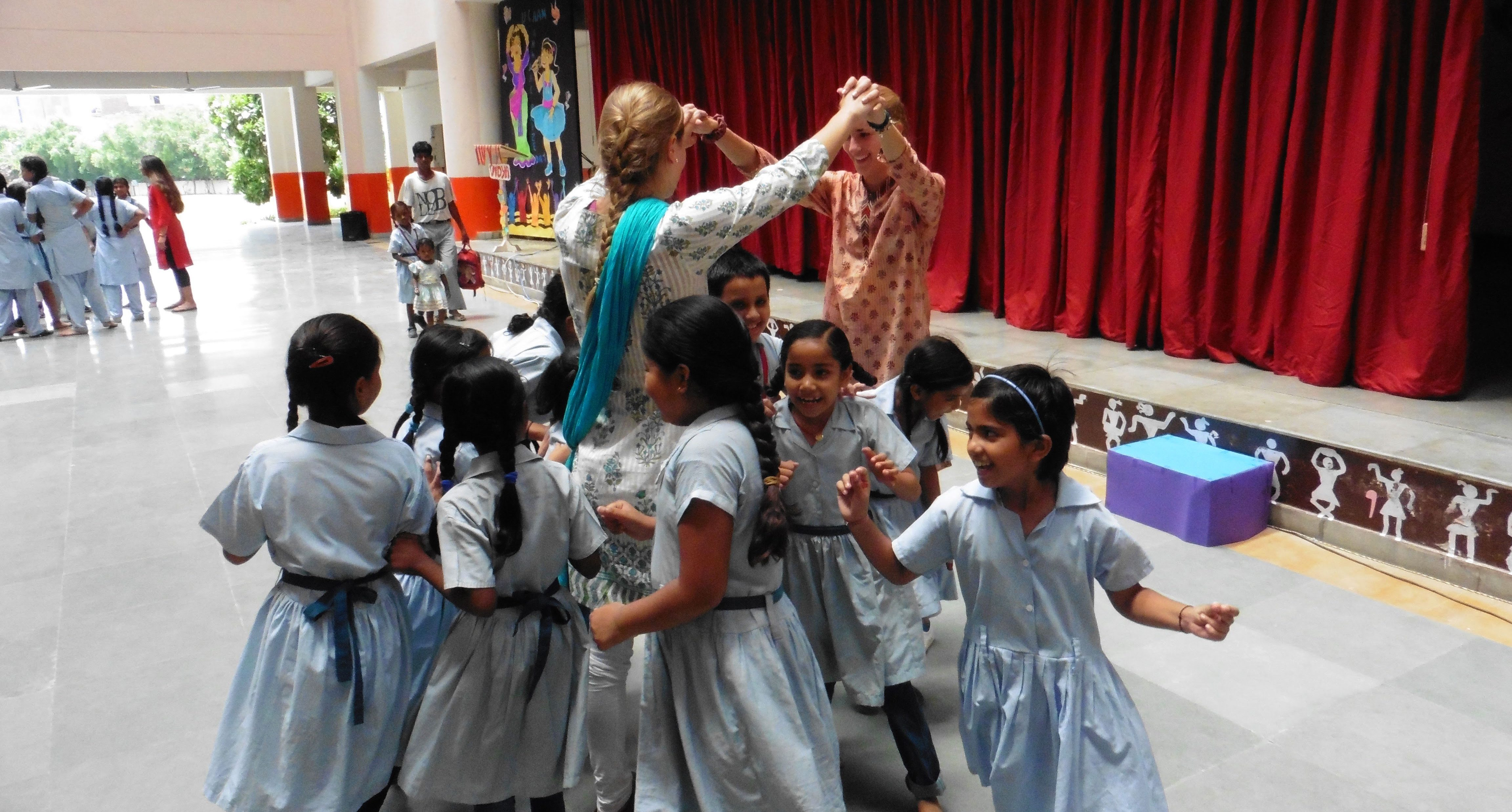 ACE Student-Athlete Dancing with VIDYA Students