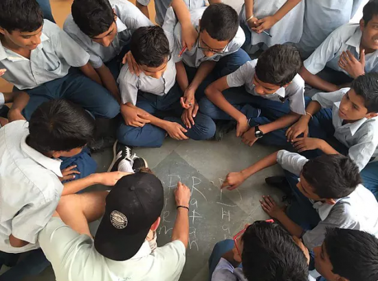 VIDYA Students Playing with Chalk Outside