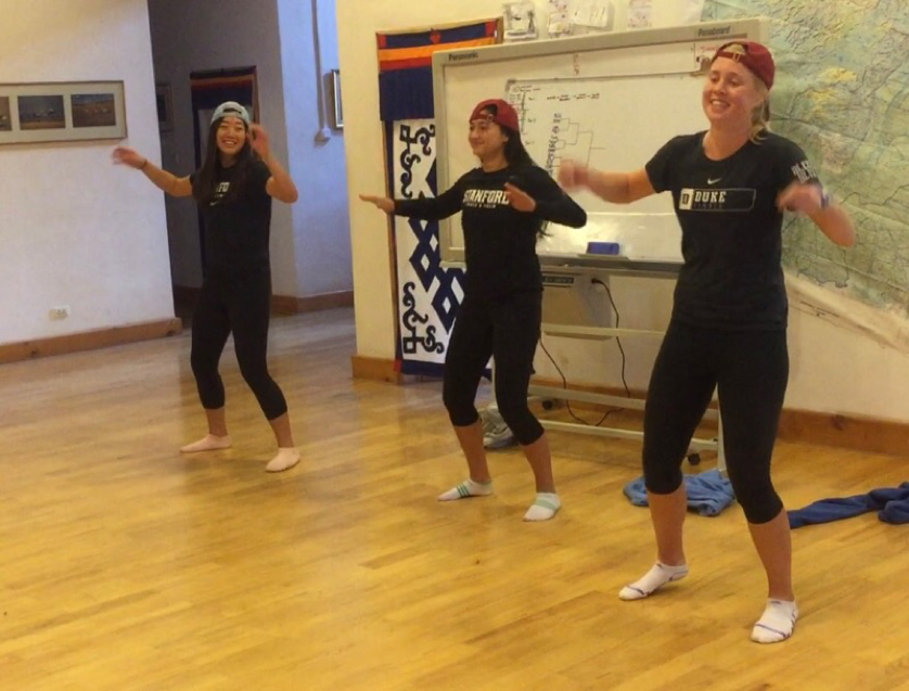 Group of ACE student-athletes dancing at a talent show