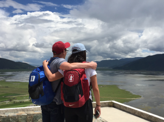 Duke and Stanford Friends Overlooking Mountain