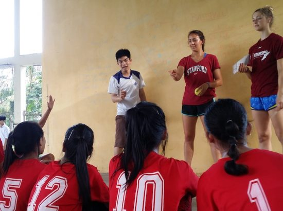 ACE participants teaching baseball to read team