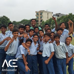 ACE participant with VIDYA school children