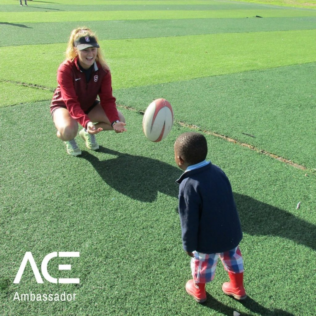 ACE participant playing rugby