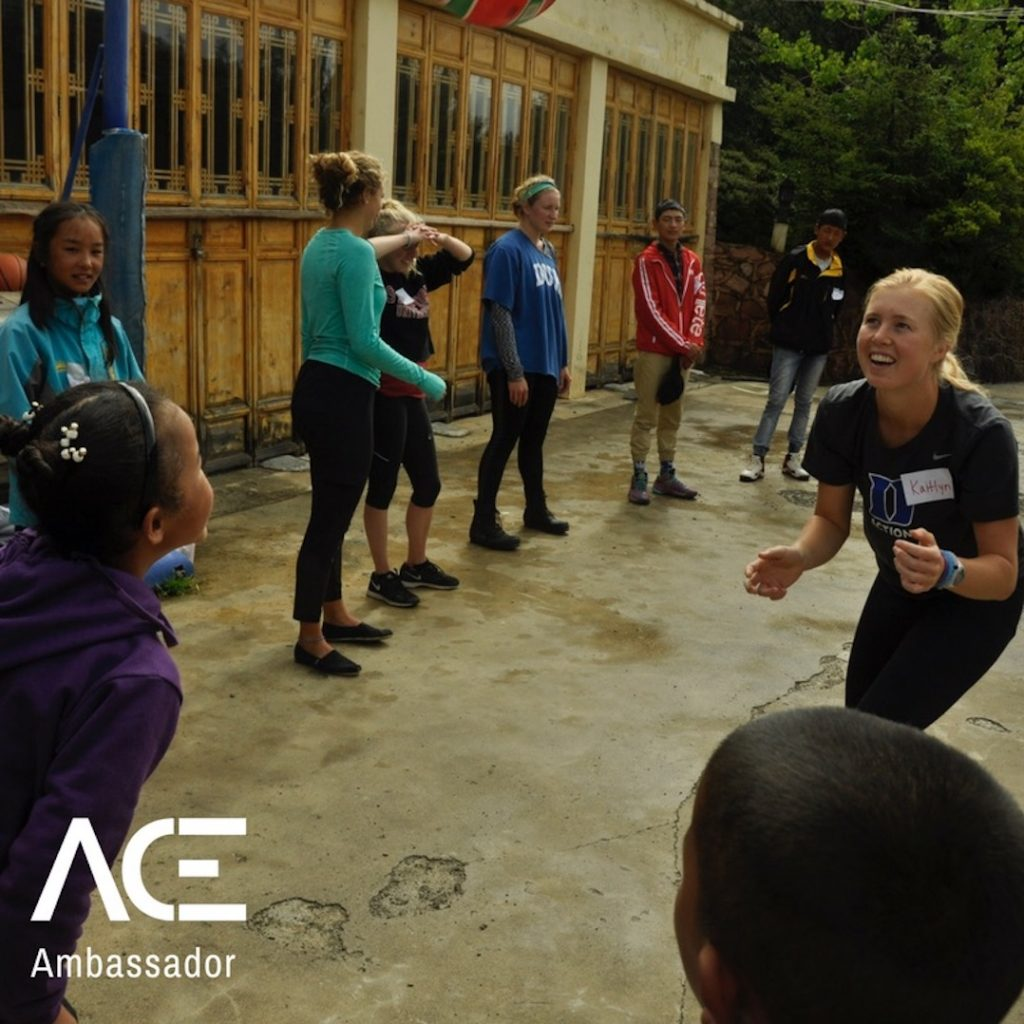 ACE participant playing games outside