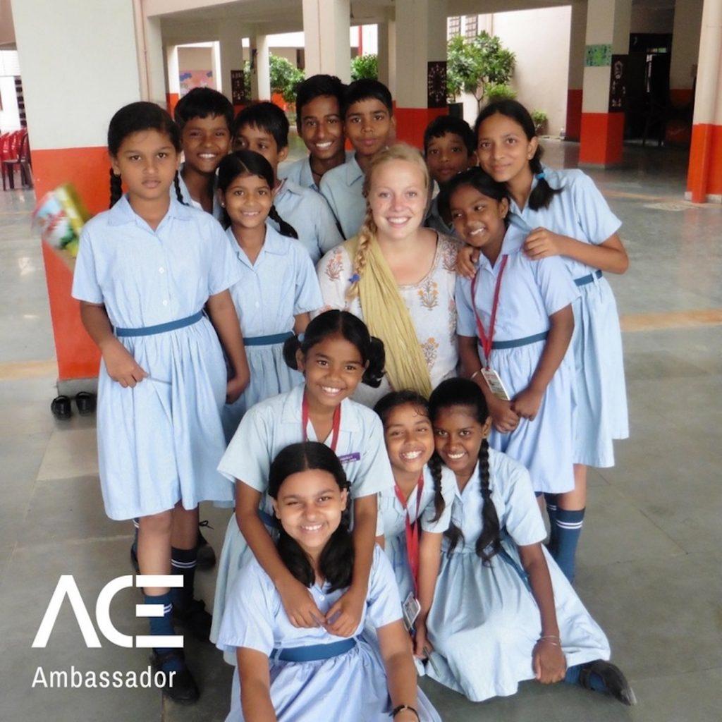 ACE participant with VIDYA school children