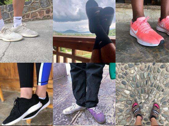 photo collage of nine pairs of shoes and feet