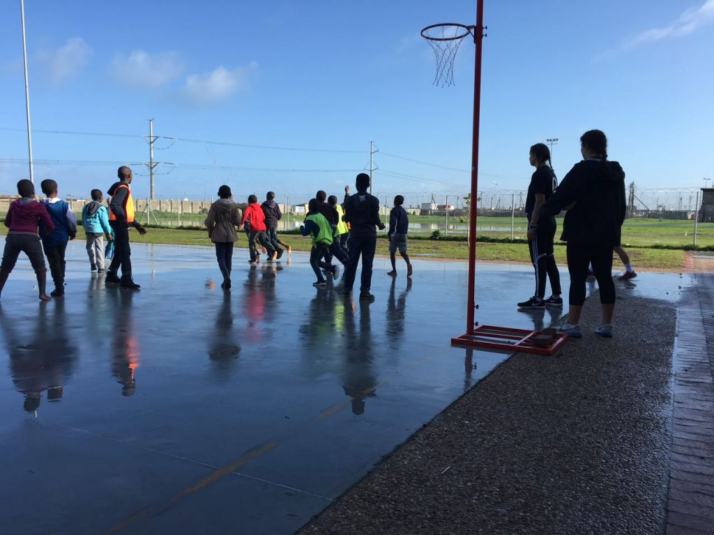 Students in South Africa playing netball