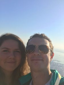 Selfie of Amelia and Max with ocean background