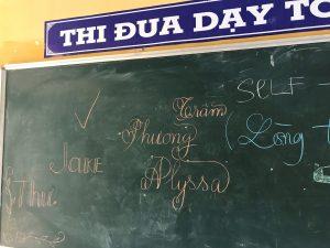Words written on chalkboard