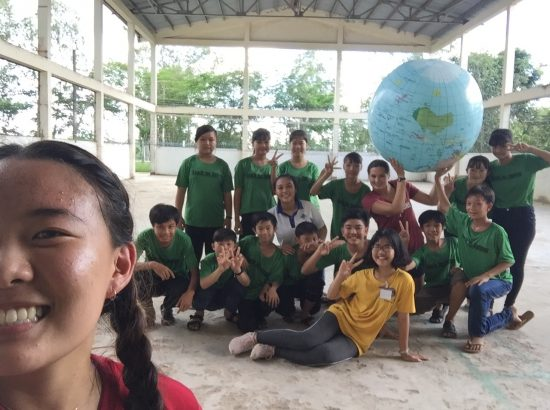Selfie with Volleyball class and giant globe
