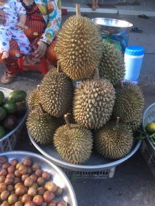 Bowl of large, green, spiky fruit