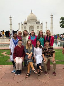 ten students in front of the Taj Mahal in India