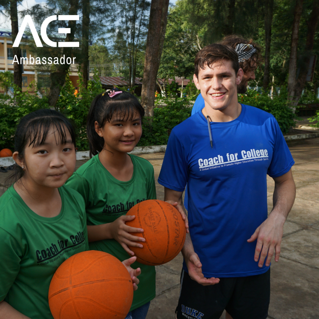 young adult and students posing while playing basketball