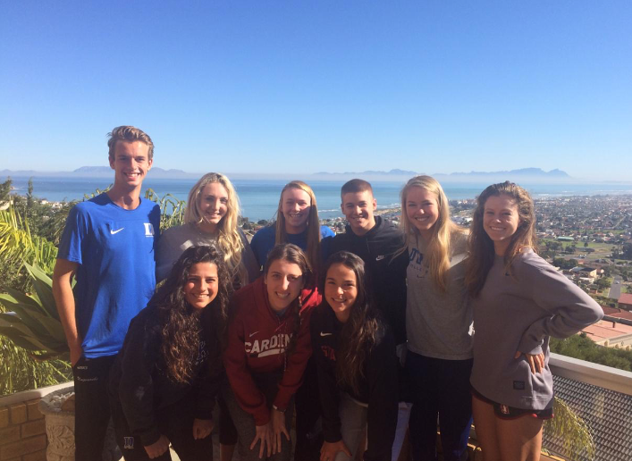 group of student-athletes posing at overlook