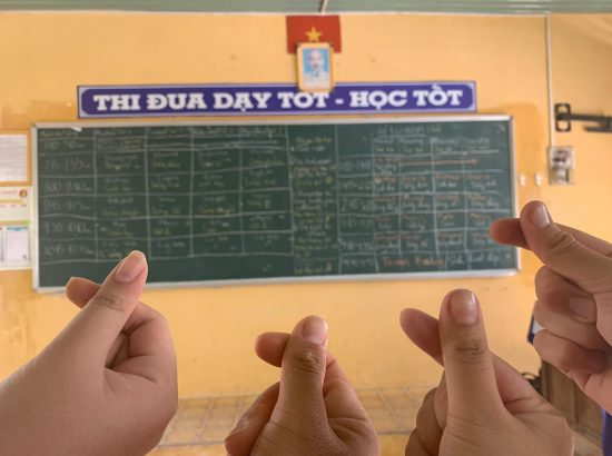classroom board and hand signals