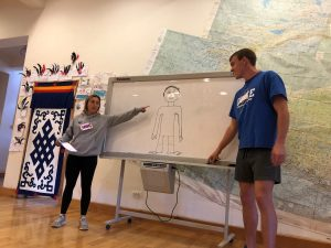 young adults teaching in classroom at a whiteboard