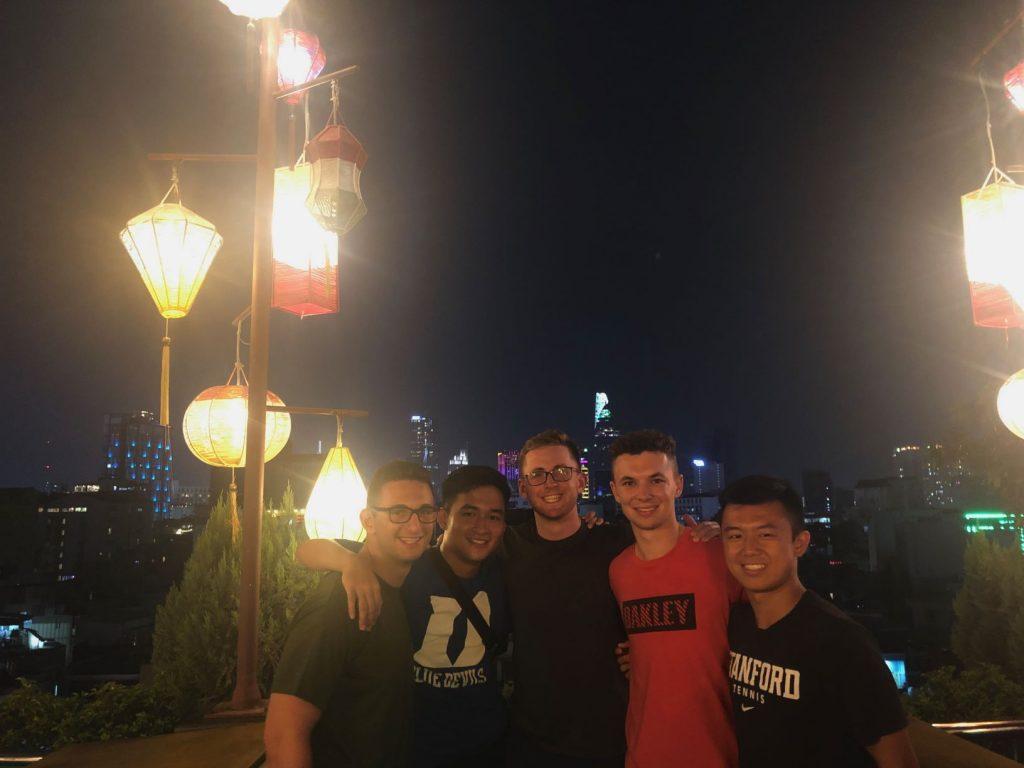 five friends standing