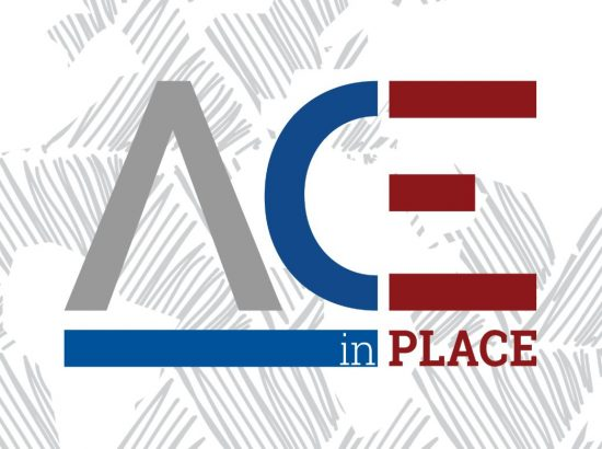 ACE in place text in front of gray and white map design