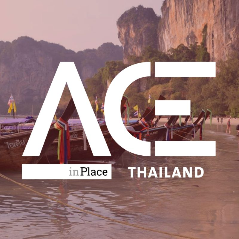 ace in place thailand logo over image of colorful boats on river