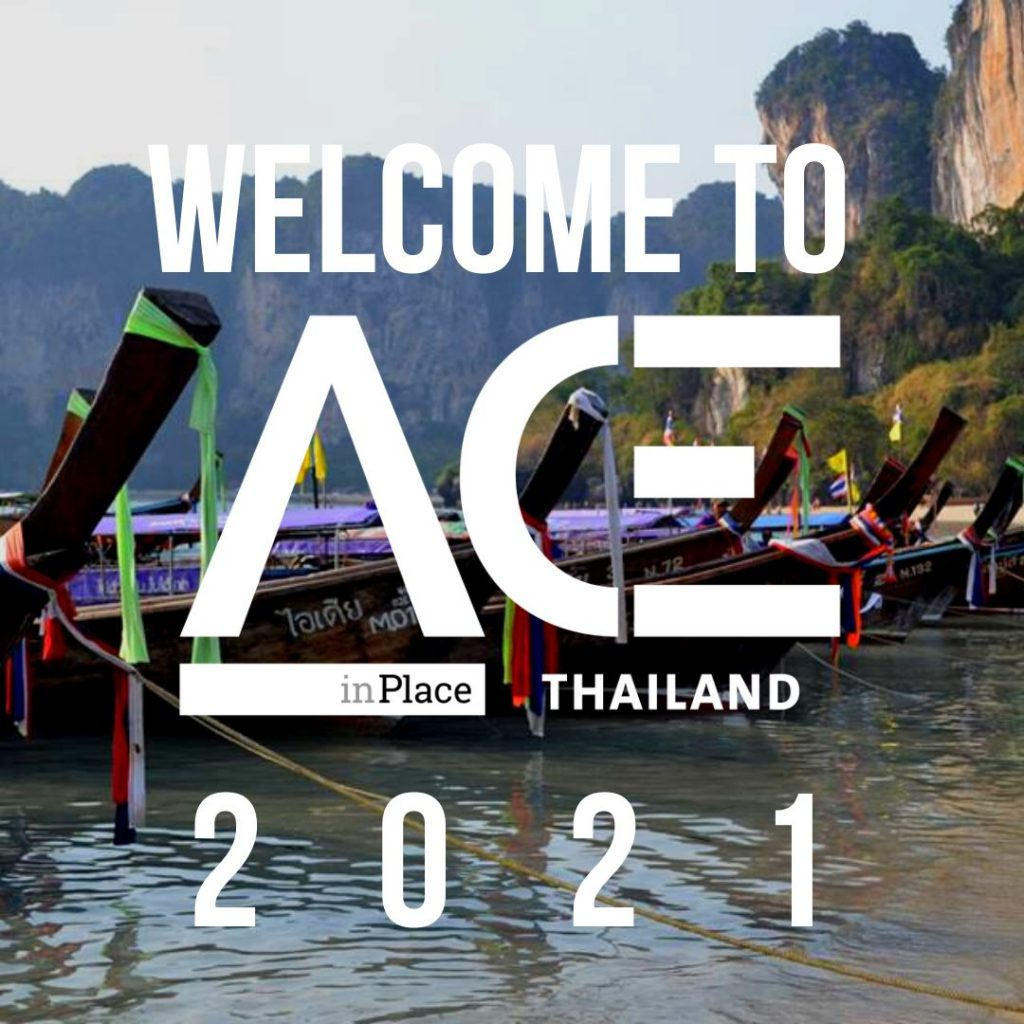 ace in place thailand logo in front of rowboats in water